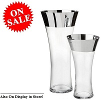 2-Piece Glass Vase Set Silver