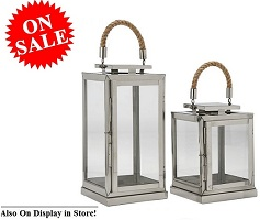 2-Piece Square Lantern Set Stainless