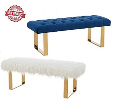 Angelica Fabric Double Bench Collection