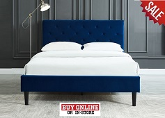 Armando Blue Fabric Bed Collection